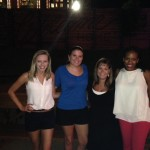 Lauren Hill Rose ('14), Karla Parra ('11), Christine, and Camille Coleman ('13) meet up in Dallas