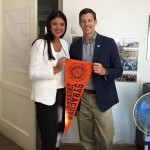 Fjolla Raifi ('14) and Andrew Horsfall, LLM Admissions showing SU spirit in Kosovo (l-r)