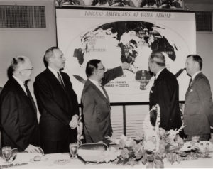 "Maxwell hosted a Conference ""Americans At Work Abroad"" in March 1957. Pictured, (l-r) George Cressey, professor of geography, Maxwell Dean Harlan Cleveland, Chancellor William P. Tolley, and William C. Foster, president of the Carnegie Corporation. This conference fit well with Dean Harlan Cleveland's primary focus as dean which encouraged the Maxwell School to bolster its international scholarship and programming."