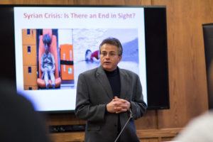 "Dr. Mehrzad Boroujerdi spoke on the ""Syrian Crisis: Is there an end in sight?"""